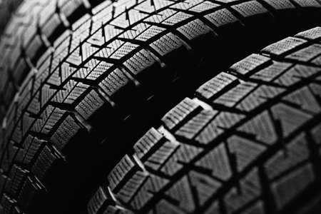Close-up of snow tires