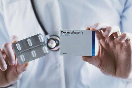 Doctor holding Dexamethasone steroid drug