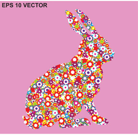 colorful spring flowers and the silhouette of the rabbit Vector