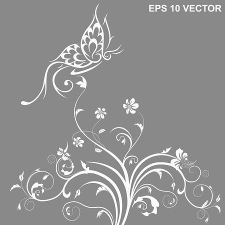 tatouage papillon: papillon et la fleur