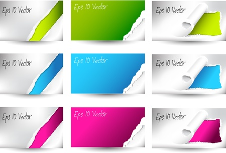 Torn color business card set Stock Vector - 16927778