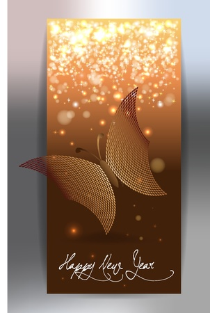 butterfly and happy new year Stock Vector - 16954469