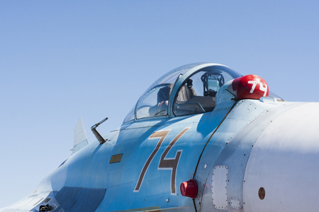 Day of airforce background. Cabin of military aircraft.