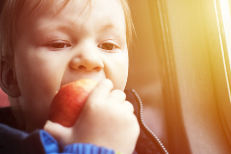Boy bites red apple with appetite. Healthy food for toddlers in aircraft during flight or in train.