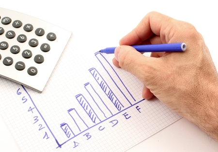 statistician: Hand draws a graph of blue, the calculator instrument.