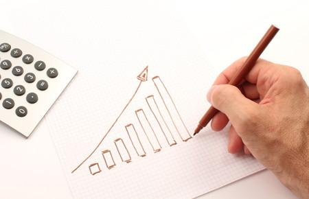 statistician: Hand draws a graph of brown, the calculator instrument.
