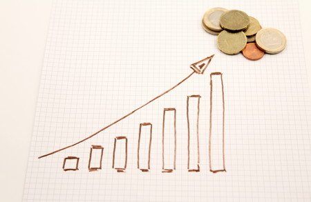 statistician: Diagram shows designed coins. Stock Photo