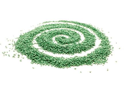 Spiral of plastic granules