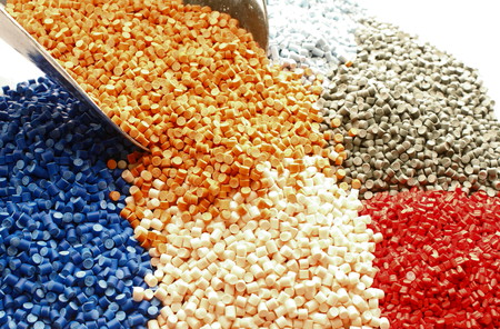 granules: Colored plastic granules for extrusion work. Stock Photo