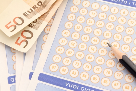 sweepstake: Printed sheet, with lottery numbers to play with bancanote in euro.