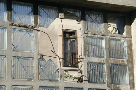 windowpanes: Abandoned industrial window with diamond pattern broken.