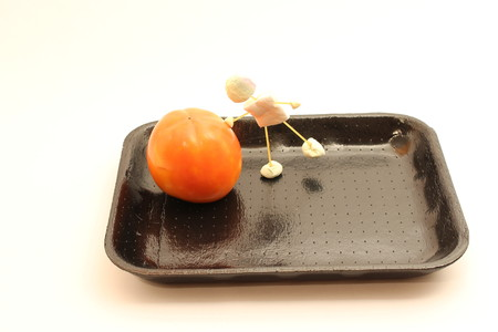 Tray for food, port puppet fact of candy that pushes food, persimmon.