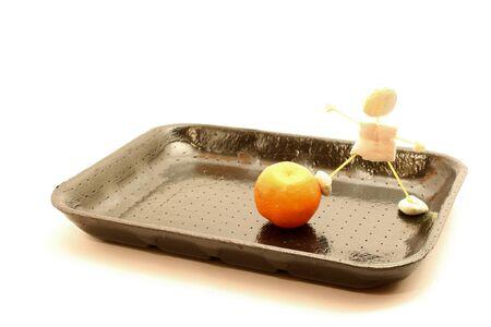 pull toy: Bandeja de comida, hecho de marionetas puerto de dulces que empuja la comida, mandarina.