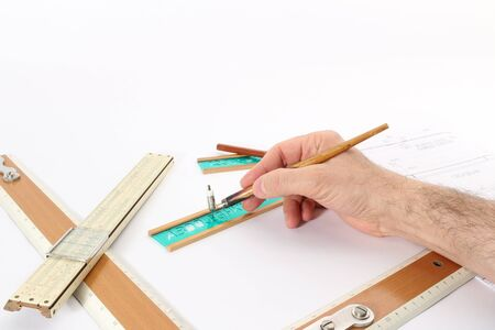 writing instruments: Old drawing apparatus and instruments; writing notes with pen in the stencil. Stock Photo