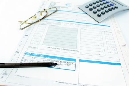 unified: Form filling, taxes in Italy, unified payment, f24 Stock Photo