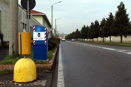 Autovelox ready in a highway, Italy. Standard-Bild
