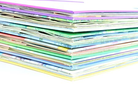 Edge of the stack of colored paper for illustration, on white background Standard-Bild