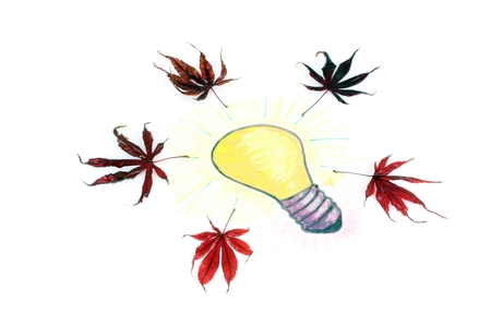 Bright Idea of gift or industry. A stylised illustration of a light bulb that has been sketched on a sheet of paper. Idea of a gift with floral, with maple leaves. Standard-Bild