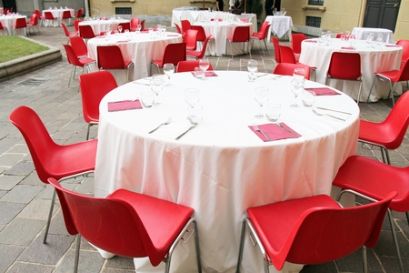 Group of laid tables, catering, outdoor banquet