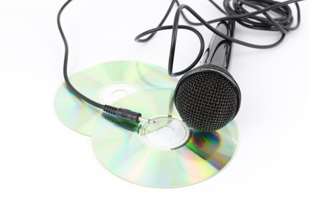 Cd, microphone, concept of mp3 music