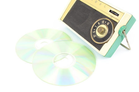 Cd, vintage radio, concept of mp3 music