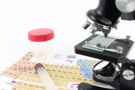 Periodic table of elements, of rutin examination with a microscope