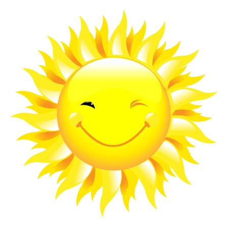 sun vector: Smiling Sun, Isolated On White Background, Vector Illustration