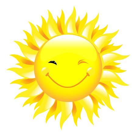 raggi di luce: Sorridente sole, isolato su sfondo bianco, illustrazione vettoriale