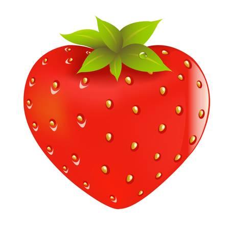Fresh Strawberry In Form Of Heart, Vector Illustration  Illustration