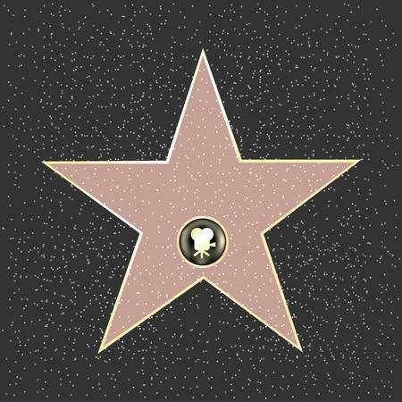 gouden ster: Walk Of Fame Type ster, vectorillustratie