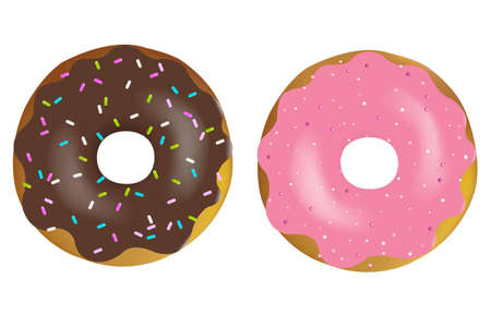 chocolate sprinkles: 2 Colorful And Tasty Donuts, Isolated On White Background, Vector Illustration