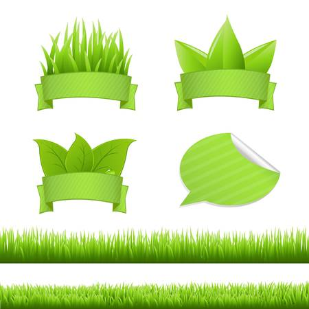 grass blades: Grass Set, Isolated On White Background, Vector Illustration