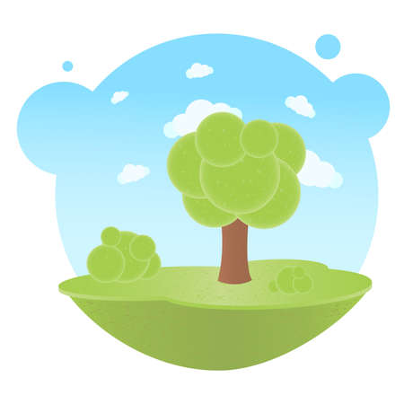 Cartoon Landscape With Trees And Clouds, Vector Illustration Stock Vector - 9283635