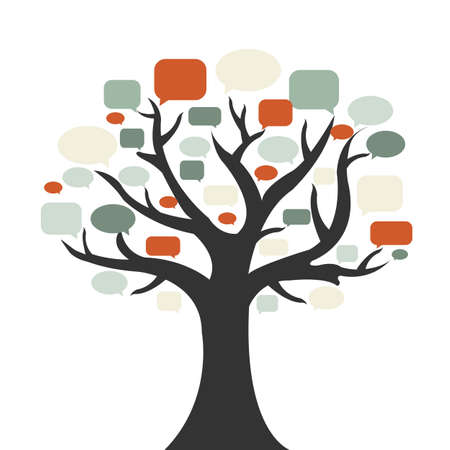 tree silhouette: Tree With Speech Bubble, Isolated On White Background, Vector Illustration
