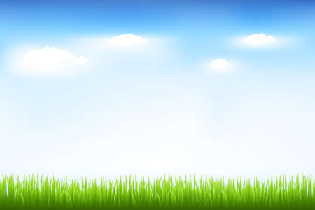 puffy: Green Grass And Blue Sky, Vector Illustration
