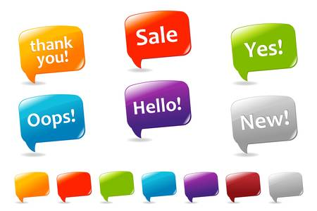 Collection Of Colorful Speech Bubbles And Dialog Balloons, Isolated On White Background, Vector Illustration Vector