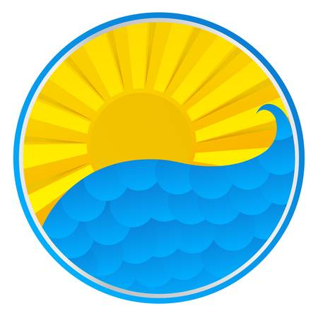 smiling sun: Summer Illustration, Sun And Wave, Vector Illustration