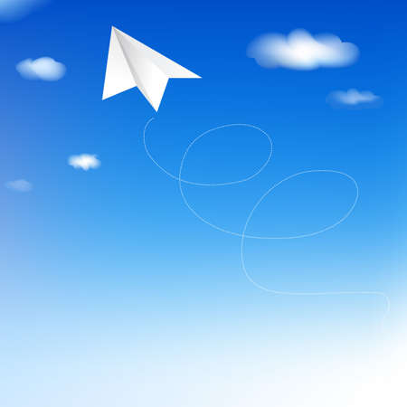 Paper Plane In Blue Sky, Vector Illustration Stock Vector - 9315938