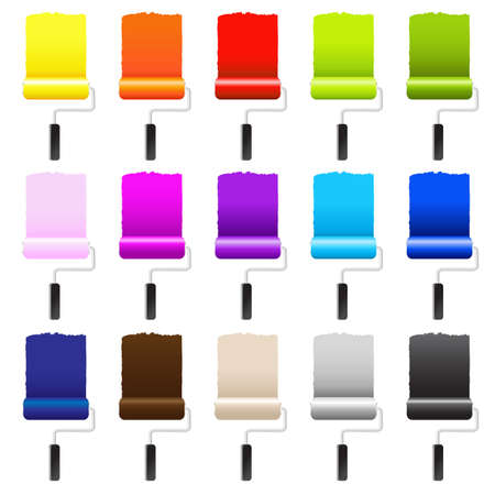 15 Paint Rollers, Isolated On White Background, Vector Illustration Illustration