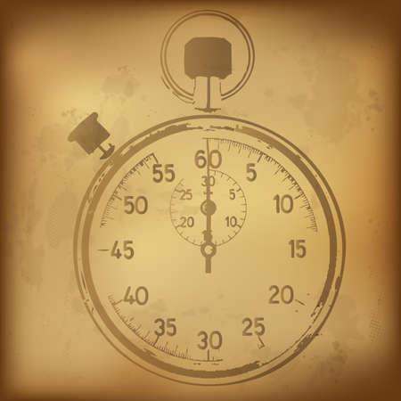 Antique Stopwatch, Vector Illustration Vector