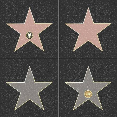 hollywood: 4 Walk Of Fame Type Star, Vector Illustration