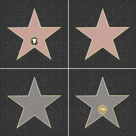 4 Walk Of Fame Type Star, Vector Illustration
