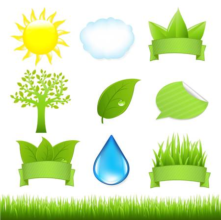 9 Nature Icons And Grass, Isolated On White Background, Vector Illustration Stock Vector - 9417791
