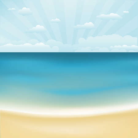 topical: Beach And Topical Sea, Vector Illustration