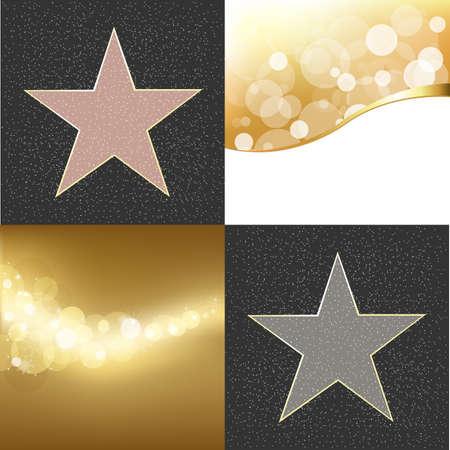 2 Walk Of Fame Type Star And Golden Background, Vector Illustration      Vector