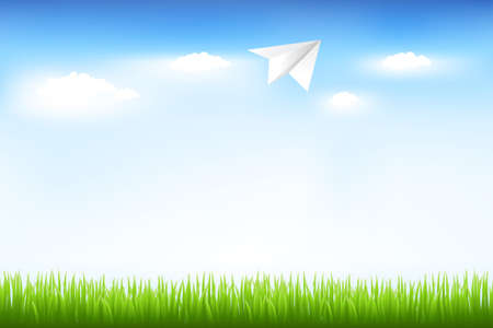Blue Sky And Paper Plane Stock Vector - 9453102