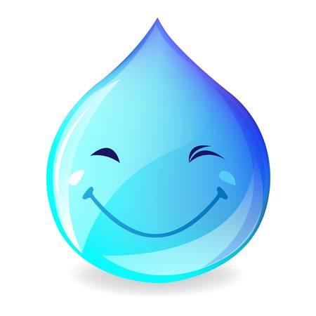 goutte de pluie: Sourire goutte d'eau, isol� sur fond blanc