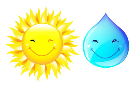 people smiling: Smiling Drop Of Water And Sun, Isolated On White Background, Vector Illustration