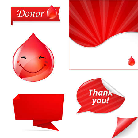 Blood Donation Set, Isolated On White Background Vector