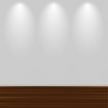wall floor: Empty White Wall With Wooden Floor Illustration